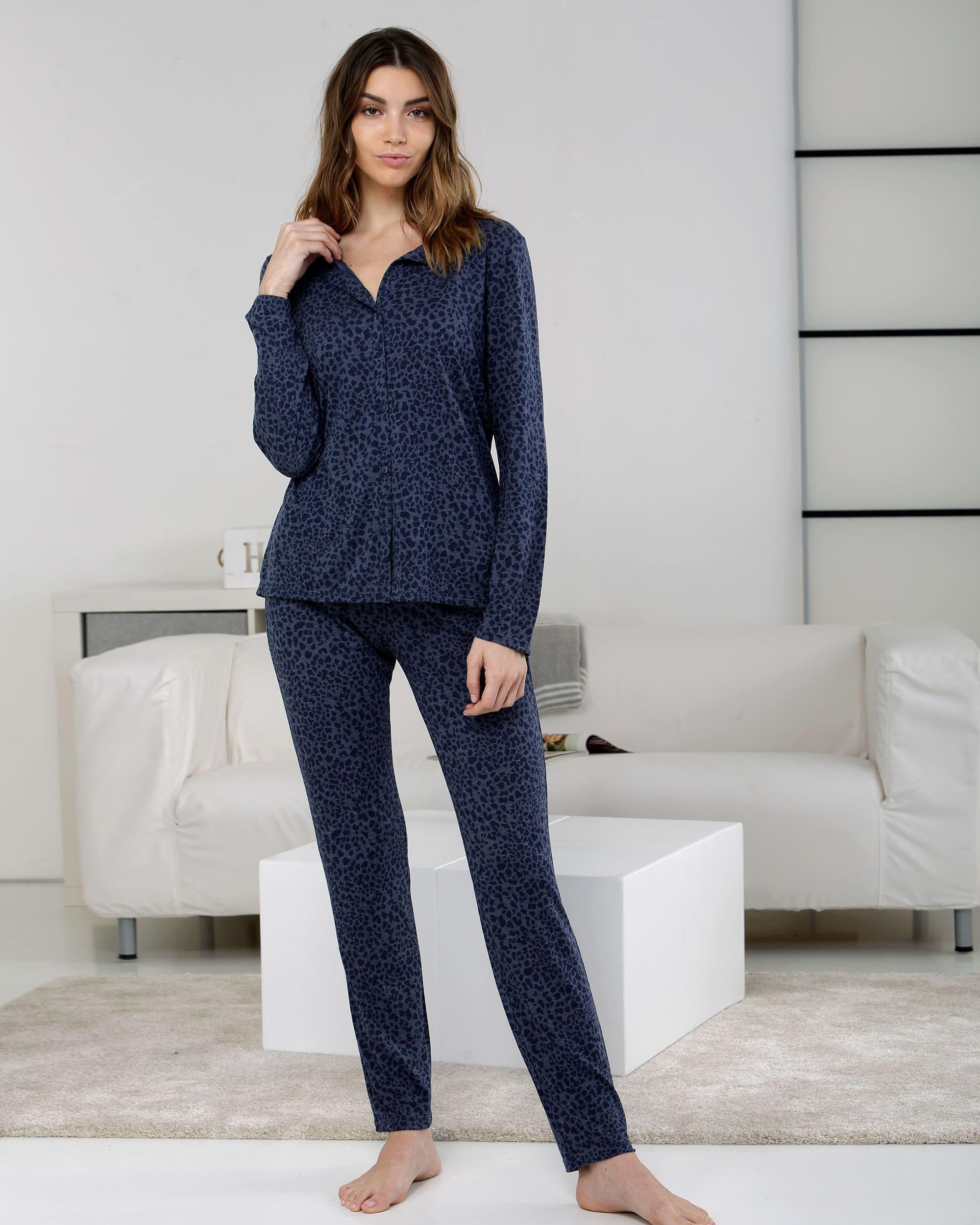 pyjama boutonné bleu motif léopard fondu