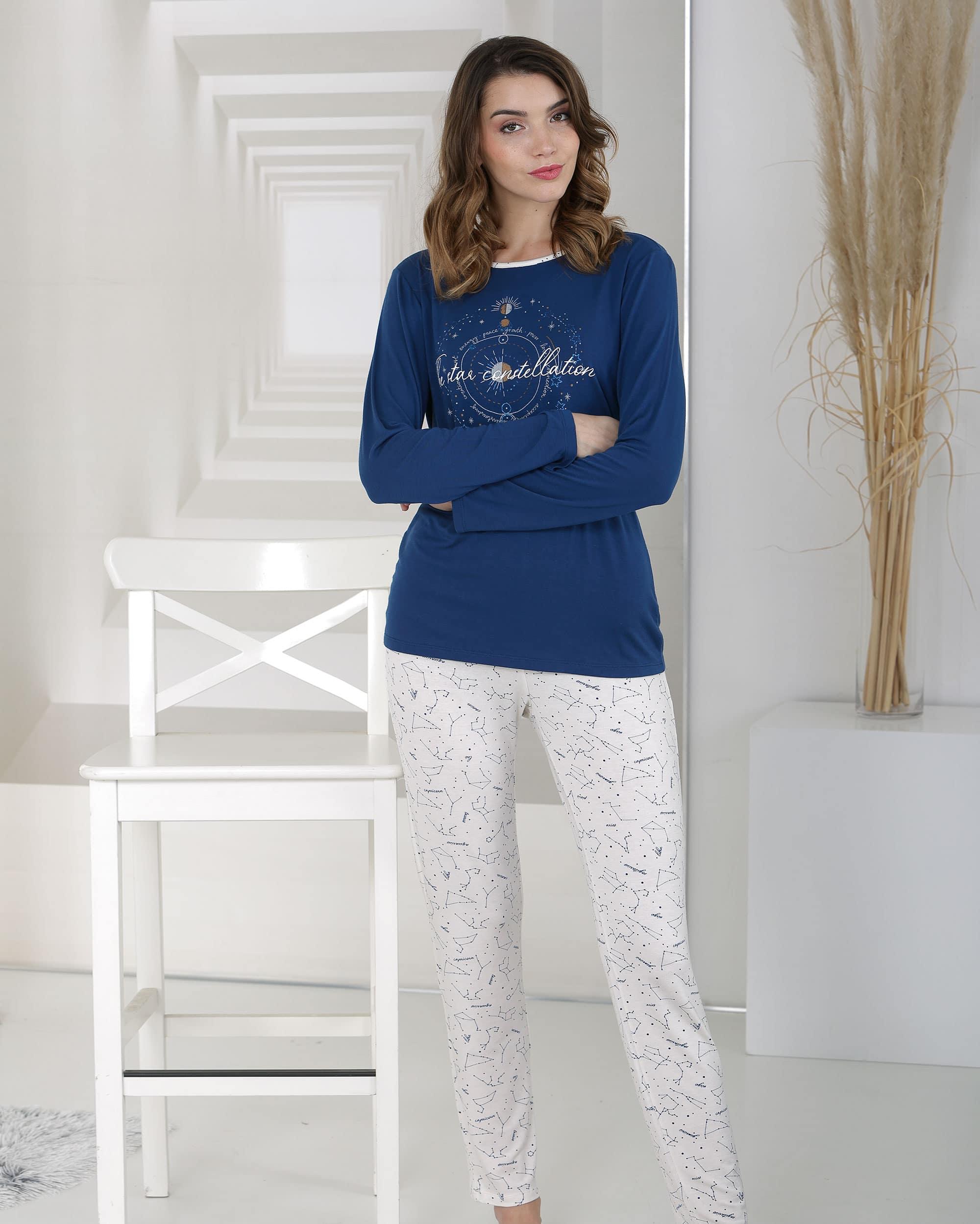 pyjama bleu en fibre bambou pantalon nacre avec motif astre