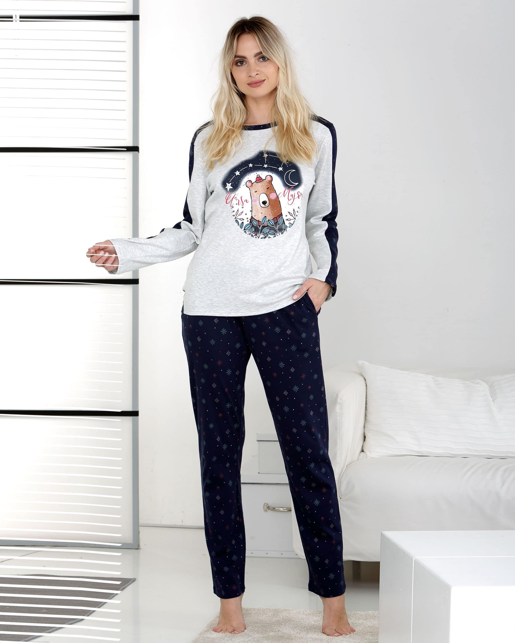 pyjama motif ours placé pantalon petits mortifs fond marine