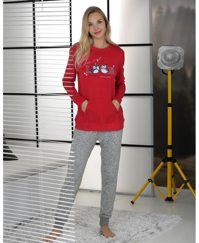 pyjama rouge motif placé hibou