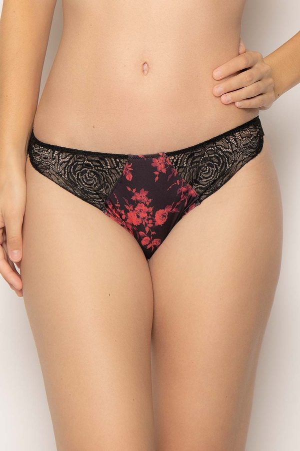string motif floral noir et rouge